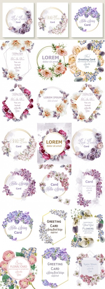 Frames with beautiful flowers for congratulations and invitations - vector clipart