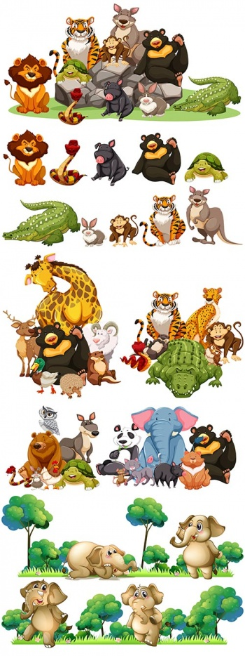 Amazing and funny animals - vector clipart