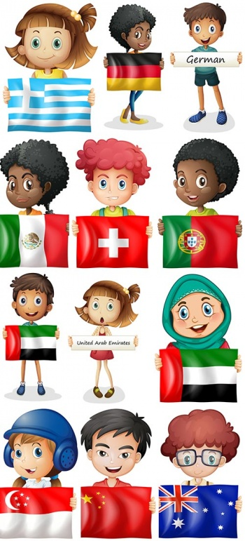 Children with flags of different countries of the world - vector clipart