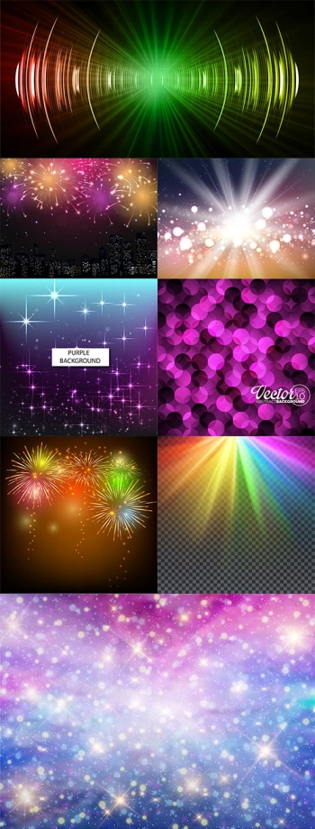 Backgrounds with colorful light effects in vector