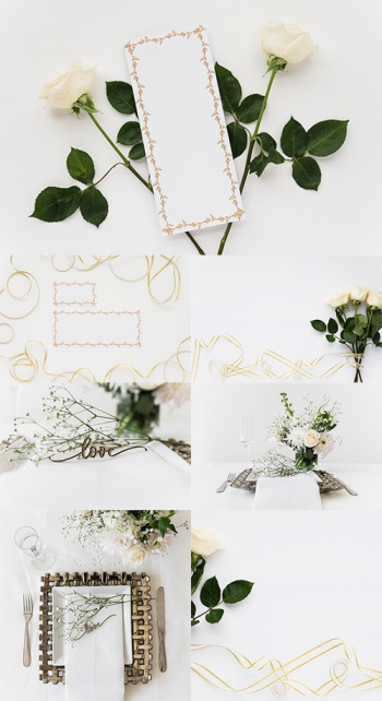 Backgrounds with white roses and pearls - Raster clipart