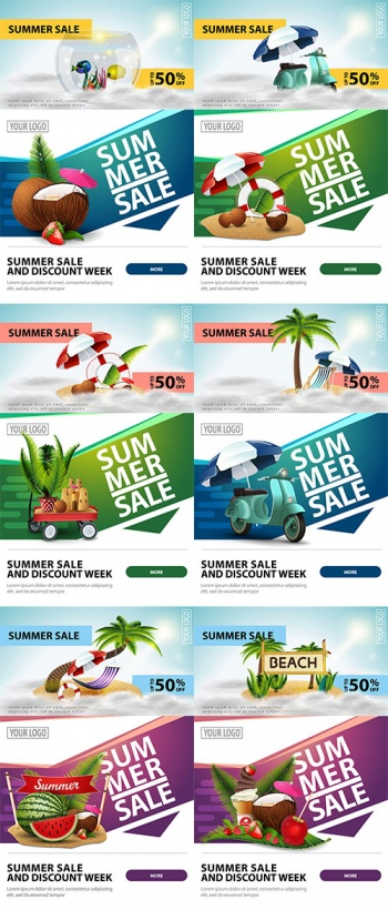 Blessed Summer Time 6 - Vector Summer Banners