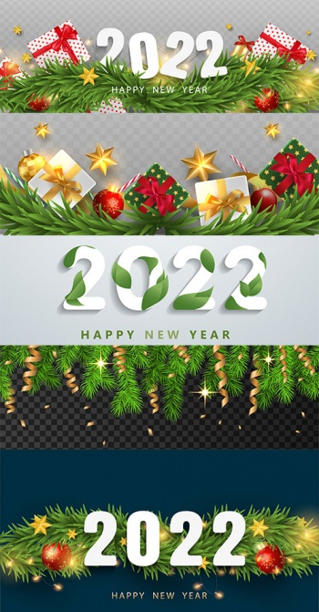Vector backgrounds for Happy New Year 2022 greetings