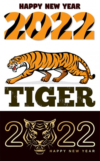 2022 year of the tiger - vector clipart