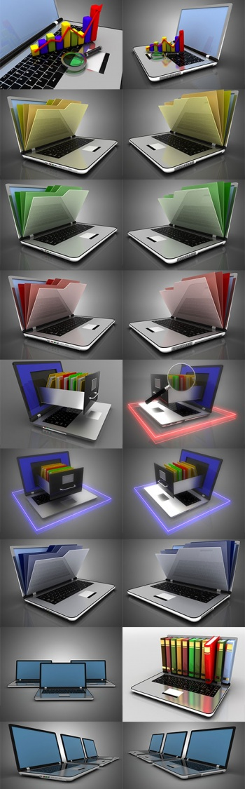 Laptop in 3D projection - Raster clipart